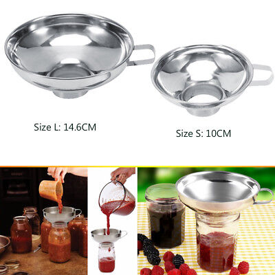 Stainless Steel Household Wide Mouth Canning Jars Funnel W/Handle Kitchen Tool S