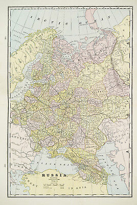 Large 1883 Cram's Map of Russia