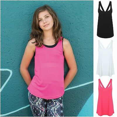 Girls Sports Vest Fitness Exercise Gym Yoga Tank Tops Singlet Loose Tops Child