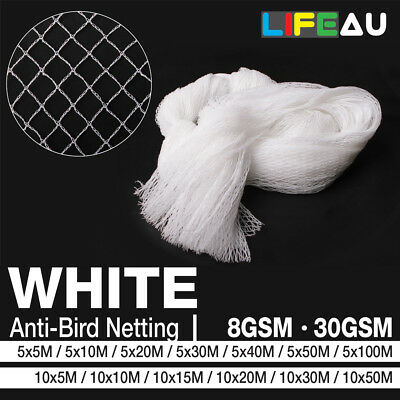 WHITE Anti Bird Netting Commercial Pest Net 5M, 10M Wide 5M - 100M