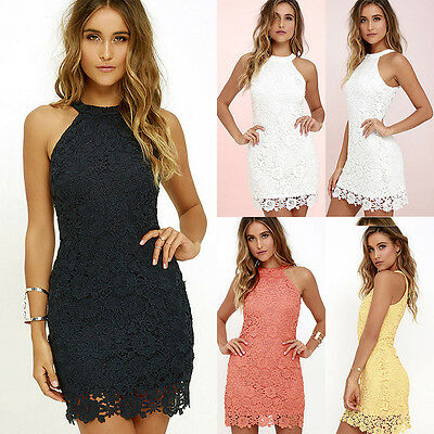 Women Lace Sleeveless Party Cocktail Evening Bodycon Summer Mini Dress ZH