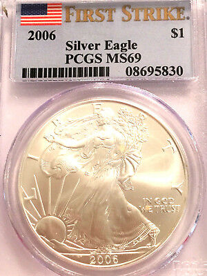 2006 Pcgs Ms 69 Silver Eagle First Strike Flag Label