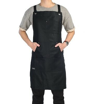 Work Apron, Clya Home Heavy Duty Waxed Canvas Apron Shop Apron with Tool Pockets