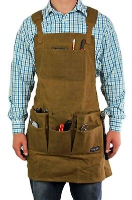 Smith Forge (Brown) Heavy Duty Waxed Canvas Work-Shop-Tool Apron 11Pockets-Adjus