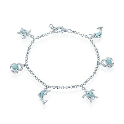 Sterling Silver Natural Larimar Nautical Turtle, Dolphin, Crab Charm Bracelet 8""