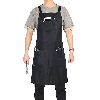 Split-Leg Waxed Canvas Apron, Clya Home Work Apron Utility Apron with Pockets, A