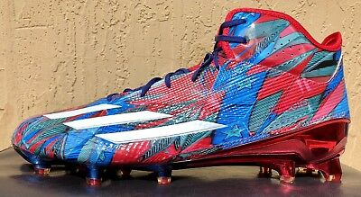 various colors 9f810 b6aa8 Mens Adidas adizero 5-Star 5.0 Mid Football Cleats Size 13 Red Blue TEXAS