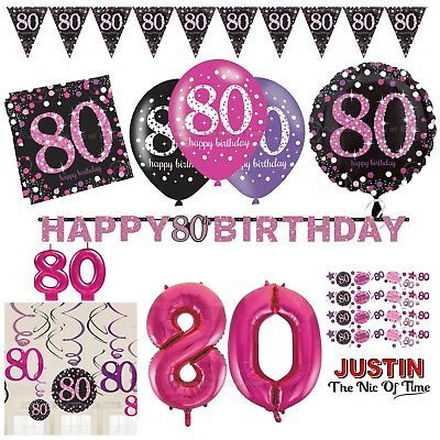 80th PINK Celebration Birthday Party Supplies Balloons Tableware & Decorations