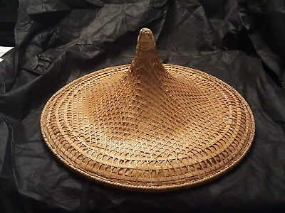 """Vintage 19"""" COOLIE HAT Asian sun, rice patty bamboo straw conical woven {10"""
