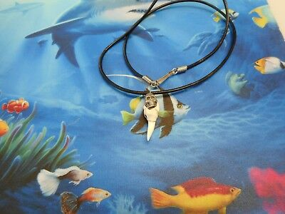 "Genuine 1"" Mako Shark Tooth Necklace With Pewter Skull Surf Wear"