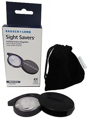 New Folding Pocket Coin Magnifier 4X Bausch & Lomb Quality Lens Free Shipping