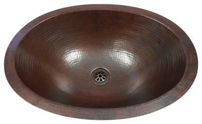 "SimplyCopper Small 16"" x 12"" Oval Copper Bath Sink Dual Mount with Daisy Drain"