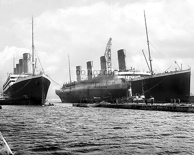 Rms Titanic And Rms Olympic In March, 1912 Ocean Liner - 8X10 Photo (Az629)