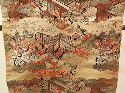 Japanese Japan Silk Kimono Maru Double-Sided Obi with ancient house and maidens