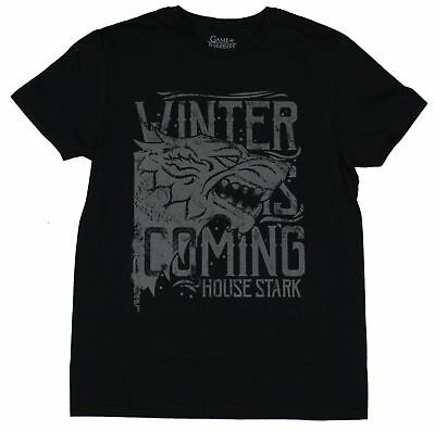 Game of Thrones Mens T-Shirt - Gray Winter is Coming House Stark Head Image