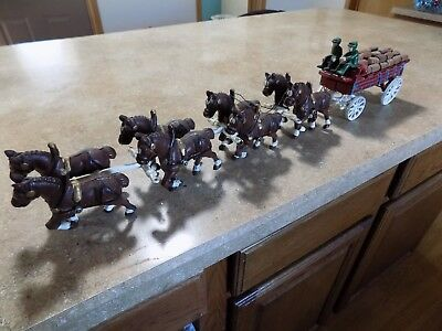 vintage Cast Iron Clydesdale Horse Drawn Wagon Budweiser