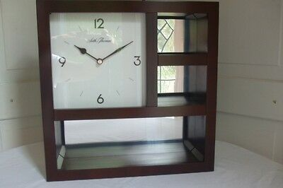 Seth Thomas Wall Clock Cherry Wood Finish w Mirrored Back Panel Hanging Curio