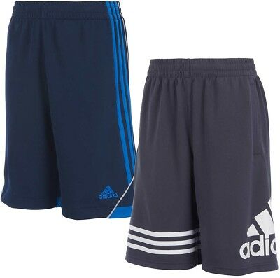 Adidas Boys Shorts 2 Pack Size Small 8 Navy Blue White Gray Youth Core NWT