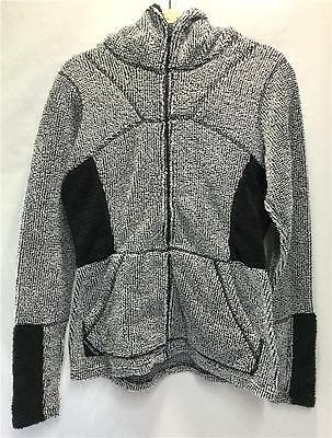Hot Chillys Women's Pico Hooded Fleece Jacket White Black Size Ladies Medium NEW