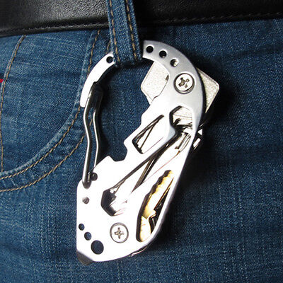 1Pcs Multifunction Stainless Steel Carabiner D Shaped Hook Clip Key Chain