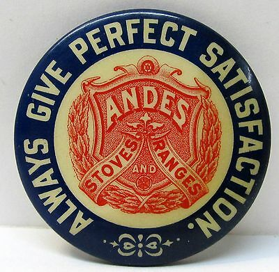 circa 1910 ANDES STOVES AND RANGES advertising celluloid pocket mirror *