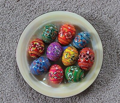 "Ukrainian 10 Wooden Easter Eggs Pysanky Pysanka Quail Medium Size 1.75"" x 1.25"""