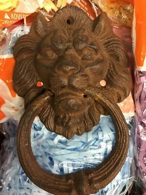 Cast Iron Antique Rustic LION HEAD Door Knocker Brown Vintage