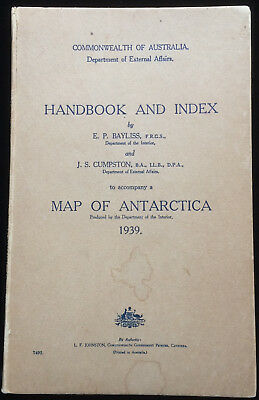 Map of Antarctica Handbook & Index Commonwealth of Australia 1939 Expeditions