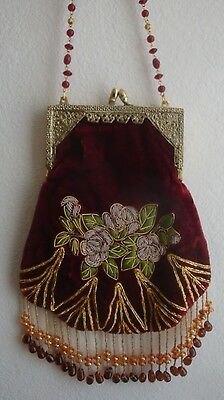 Red Velvet w  Embroidered Floral &  Beaded Evening Bag Purse  New