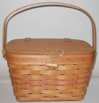 VINTAGE 1991 CLASSIC STAIN LONGABERGER MOTHER'S DAY PURSE BASKET w SWING HANDLE