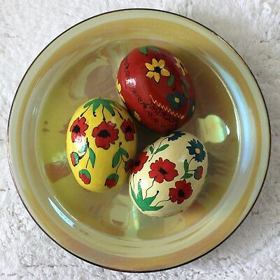 Ukrainian Set 3 Сolored Wooden Painted Easter Eggs Pysanka Chicken Size Flowers