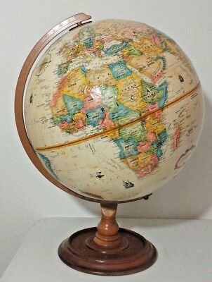 REPLOGLE 12in. Antique WORLD CLASSIC Series GLOBE Wood BASE Mid Century Vintage