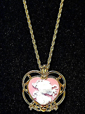 Precious Moments Girl Cameo Gold Tone Necklace Pink with Pouch  Gift for Her
