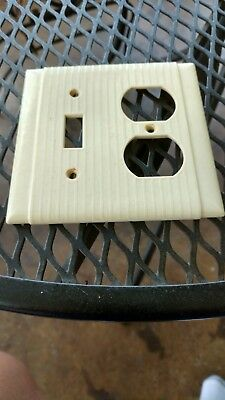 Vtg Bakelite Ivory 2 Gang Toggle Light Switch/receptacle Plate Art Deco Bryant