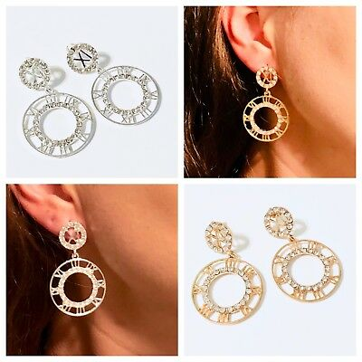 Womens Silver Gold Roman Inspired Stud Drop CZ Crystal Earrings US New 1pair