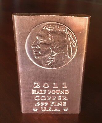 5 *2011* INDIAN HEAD Half Pound(8oz.).999 Fine Copper Bullion Ingots Bars 40oz.