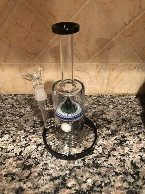 """9"""" Double Perc  Glass Water Pipe Hookah  With Bowl"""