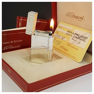 Briquet gaz * St Dupont Paris + box & doc * Pl.ar-Lighter-Feuerzeug-Accendino