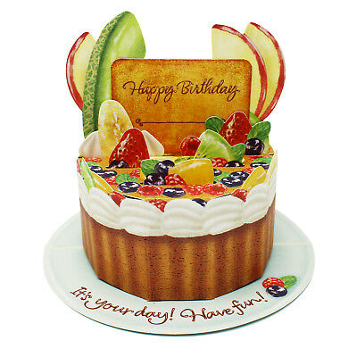Fruit Birthday Cake Pop Up Decorative Birthday Card