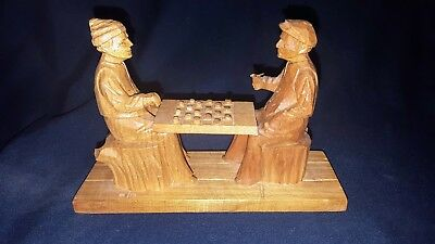 Vintage Collectible wood carving Men Playing Checkers Signed Lionel Dube Canada