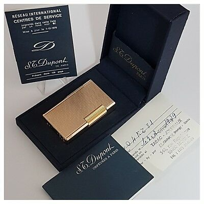 Briquet gaz* St Dupont Paris +box notice *Gold.Plate-Lighter-Feuerzeug-Accendino