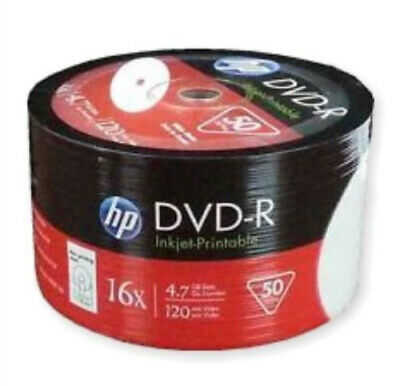 50 HP DVD-R 16X 4.7GB full hub white inkjet Printable DVD -R Blank media Discs