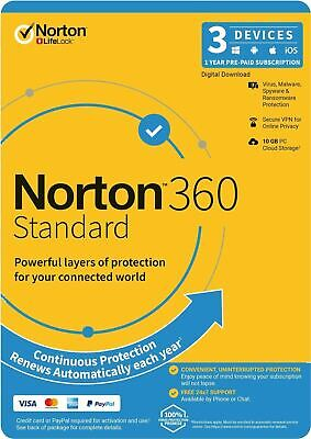 Norton INTERNET SECURITY DELUXE 2018 3 PC Devices Windows Mac Android iOS - POST
