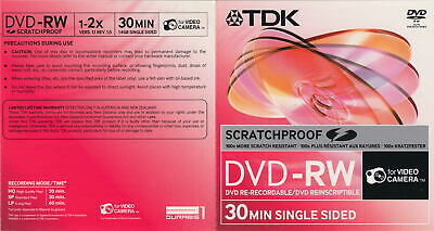 10 TDK CAMCORDER SCRATCH PROOF TDK 8CM MINI DVD DVD-RW Rewritable Recordable