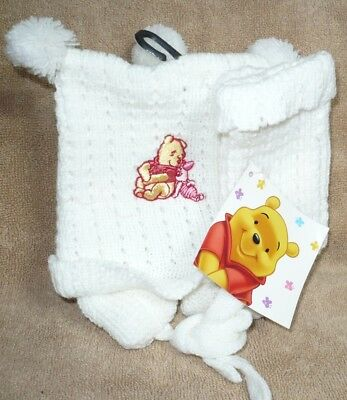 Disney Winnie the Pooh Infant baby girl or boy hat and mittens