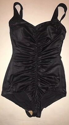 VTG Pinup Swimsuit Maxine of Hollywood Women's Black Ruched One Piece Sz 14