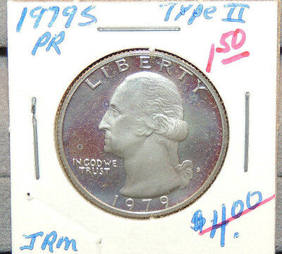 1979s type II Proof Washington Quarter 25c USA coin (11521b1)