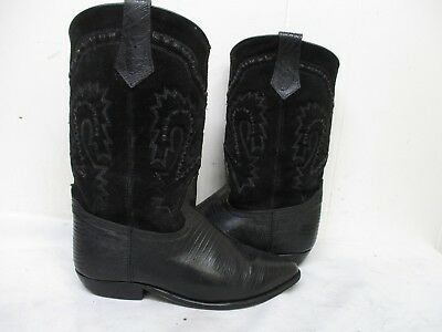 04144f7bf37 Seychelles Black Lizard Print Leather Suede Shafts Cowboy Boots Womens Size  8