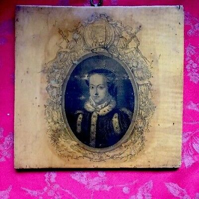 Very Rare Large Mauchline Ware Wood Panel Queens Head Armorial