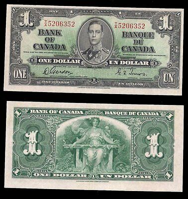 CANADA - ONE DOLLAR 1937 - P# 58d - RARE CONDITION